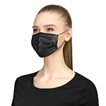 Black 3-Ply Disposable Face Masks-Logo
